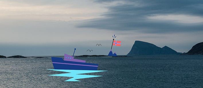 The ocean with illustrations of a boat and mountains with the Norwegian flag on top